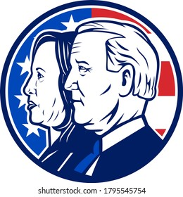 Aug 14, 2020, AUCKLAND, NEW ZEALAND: Illustration of American president and vice president candidate for 2020 US election Democrat Joe Biden and Kamala Harris with USA flag circle done in retro style.