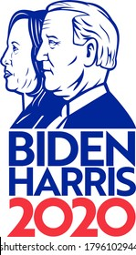Aug 14, 2020, AUCKLAND, NEW ZEALAND: Illustration of American president and vice president candidate for US election Democrat Joe Biden and Kamala Harris with words Biden Harris 2020 in retro style.