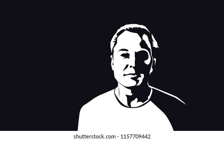 Aug, 2018: Famous founder, CEO and entrepreneur Elon Musk vector portrait. Elon Musk white silhouette on black background.