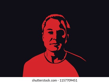 Aug, 2018: Famous founder, CEO and entrepreneur Elon Musk vector portrait. Elon Musk red silhouette on black background.