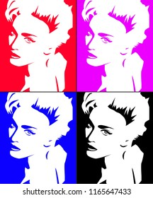 Aug, 2018: Famous singer Madonna vector outline portrait