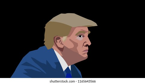 Aug, 2018: US President Donald Trump vector portrait.