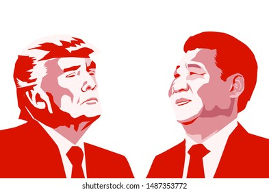 Aug, 2019: President of the People's Republic of China Xi Jinping and The president of USA Donald Trump