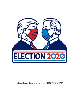 Aug 26, 2020, AUCKLAND, NEW ZEALAND: Illustration of American presidential candidate for 2020 US election, Republican Donald Trump and Democrat Joe Biden wearing face mask side view in retro style.