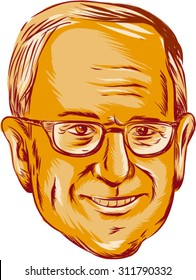 "AUG. 31, 2015: Vector illustration  showing Bernard ""Bernie"" Sanders, American Senator, elected politician and Democratic party member on isolated background done in etching sketch style."