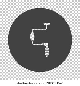 Auger icon. Subtract stencil design on tranparency grid. Vector illustration.