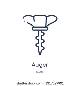 auger icon from tools and utensils outline collection. Thin line auger icon isolated on white background.