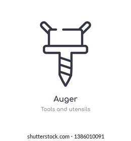 auger outline icon. isolated line vector illustration from tools and utensils collection. editable thin stroke auger icon on white background