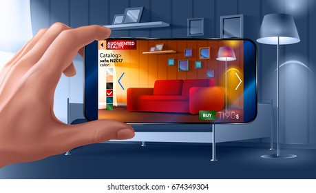 Augmented reality application of smartphone that lets you place virtual furniture to your real home before buying. Man holding smart phone in hand horizontally.