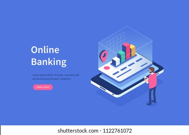 Augmented reality for banking concept. Can use for web banner, infographics, hero images. Flat isometric vector illustration isolated on white background.