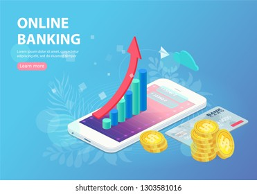 Augmented reality for banking concept. Web banner, infographics, hero images. Flat isometric vector illustration isolated on white background.