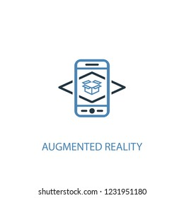 Augmented reality concept 2 colored icon. Simple blue element illustration. Augmented reality concept symbol design from Augmented reality set. Can be used for web and mobile UI/UX