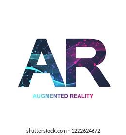 Augmented reality concept banner, AR. Virtual reality and augmented reality logo. Modern technologies sci-fi concept, vector.