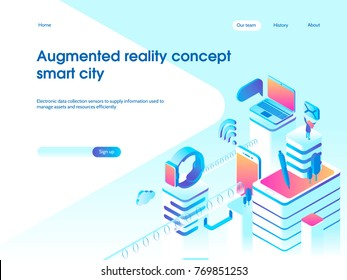 Augmented reality concept. Smart city technology. Landing page template. 3d vector isometric illustration.