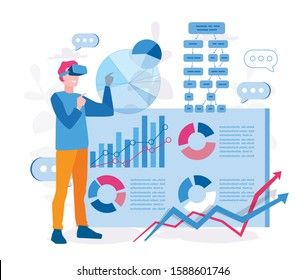 Augmented reality for data analysis, AR  VR in business, Man interacting with charts in computer and analyzing statistics, Vector illustration for web banner, infographics, mobile. Data visualisation