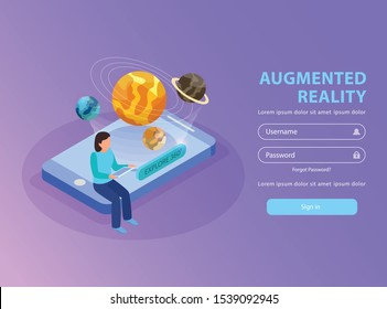 Augmented reality educative site  isometric landing page with woman visualizing solar system using smartphone background vector illustration