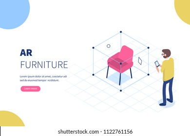 Augmented reality furniture concept with character. Can use for web banner, infographics, hero images. Flat isometric vector illustration.