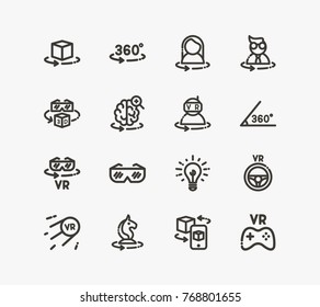 Augmented reality icon set with VR glasses, VR goggles and driving. Set of steering wheel related icon line vector elements for web mobile logo UI design. Vector set of VR related icons.