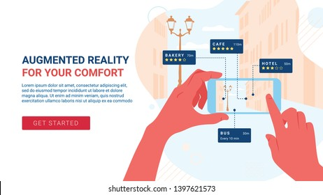 Augmented reality landing page. Mobile application let's you know institutions reviews in the city. Vector flat cartoon illustration