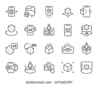 Augmented reality line icons. VR simulation, Panorama view, 360 degree. Virtual reality gaming, augmented, full rotation arrows icons. 360 vr tour, virtual simulation device. Vector