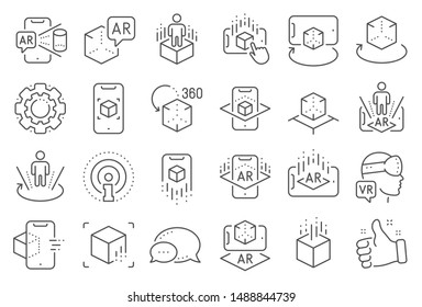 Augmented reality line icons. VR simulation, Panorama view, 360 degree. Virtual reality gaming, augmented, full rotation arrows icons. 360 vr tour, virtual simulation device. Line signs set. Vector