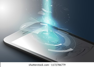 Augmented reality marketing concept. Black color smart phone with abstract tech design graphic element. AR application background. 3D vector illustration.