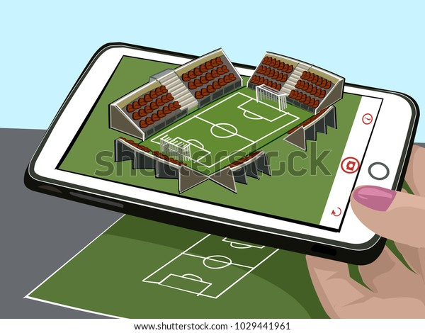 Augmented reality. New technologies for sports. Football stadium sketch and three-dimensional image. Visualize the drawing on a paper. Vector illustration. Sport. The hand is holding a mobile phone.