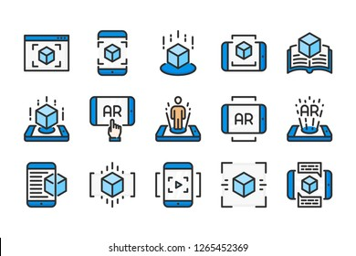 Augmented reality related color line icons. Interactive simulation vector linear colorful icon set. Isolated icon collection on white background.