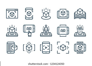 Augmented reality related line icon set. Interactive simulation linear vector icons.