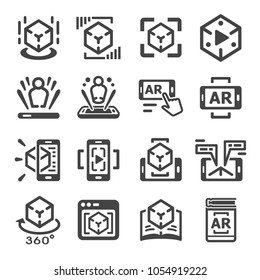 augmented reality technology icon set