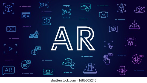 Augmented reality vector background. AR and VR futuristic background with line icons and gradients for web design, mobile apps, ui design and print. Innovative technologies business concept