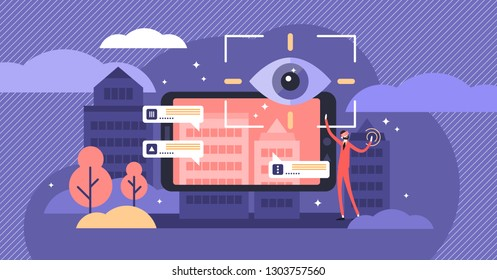 Augmented reality vector illustration. Flat tiny VR technology persons concept. Digital device for distance control. Modern gaming vision and virtual simulation using interface glasses as equipment.