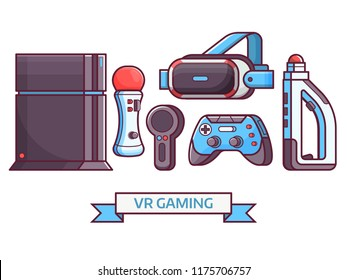 Augmented reality and virtual gaming icon set with VR devices and gadgets. Cyberspace and virtual reality concept banner with gamer elements and equipment. Such as headset, controllers and console.