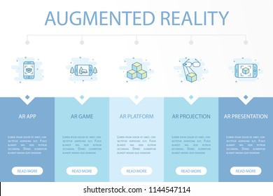 Augmented reality web banner infographic concept template with simple line icons. Contains such icons as AR app, AR game, AR platform