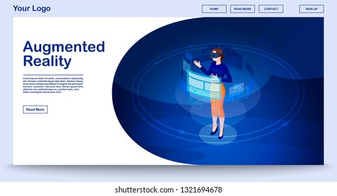 de62e0125e72 Augmented reality webpage vector template with isometric illustration. Website  interface design. Futuristic digital technology