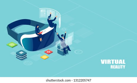 Augmented technology concept. Isometric vector of virtual reality headset with people studying and entertaining. Landing page template.