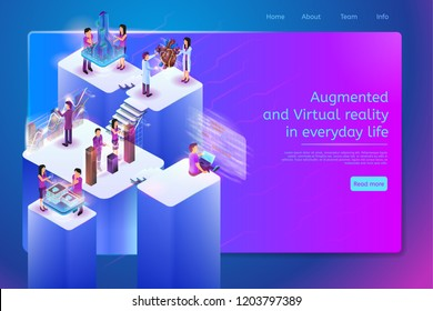 Augmented and Virtual Reality in Everyday Life Isometric Web Banner with Working People Characters Using VR Technologies in Programming, Projecting Architecture, Medical Diagnostic, Business Analytics