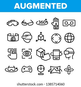 Augmented, Virtual Reality Linear Vector Icons Set. Augmented Virtual Reality Symbols Pack. Digital Technology, Simulator Pictograms Collection. Isolated Signs. VR Entertainment Outline Illustrations