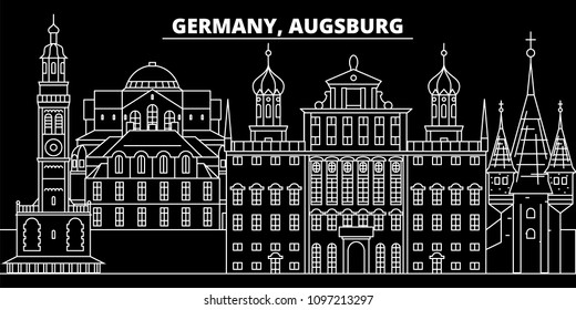 Augsburg silhouette skyline. Germany - Augsburg vector city, german linear architecture, buildings. Augsburg travel illustration, outline landmarks. Germany flat icons, german line banner