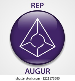 Augur Coin cryptocurrency blockchain icon. Virtual electronic, internet money or cryptocoin symbol, logo