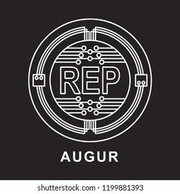 augur coin Cryptocurrency  icon with black background