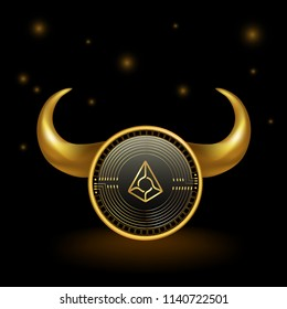 Augur Cryptocurrency Coin Bull Market Background