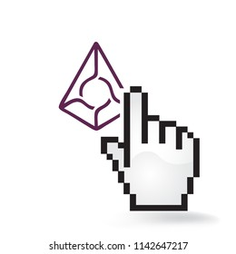 Augur Cryptocurrency Coin Sign Hand Cursor Click Isolated