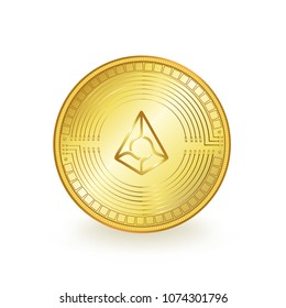 Augur Cryptocurrency Gold Coin Isolated