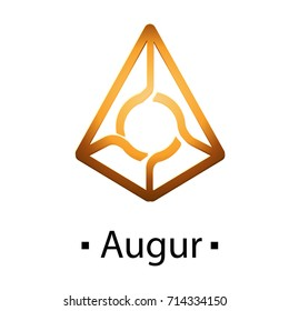 Augur cryptocurrency golden icon. Vector illustration isolated on white background.
