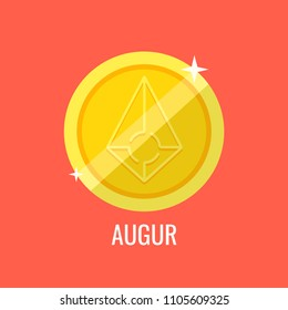 Augur gold coin icon. Sign payment symbol. Crypto currency, virtual electronik, internet money. Vector illustration.