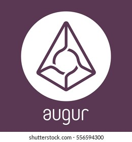 Augur REP open-source crypto currency coin on blockchain technology. Augur vector icon, sign for print and web.