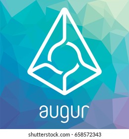 Augur REP open-source crypto currency coin on blockchain technology. Augur vector logo icon, sign for print and web.