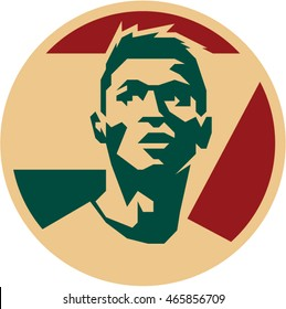 August 03, 2016: Portuguese Footballer Cristiano Ronaldo vector isolated portrait stylized illustration