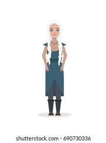 AUGUST 06, 2017: illustration of Daenerys Targaryen, mother of dragons . Vector character Game of Thrones.